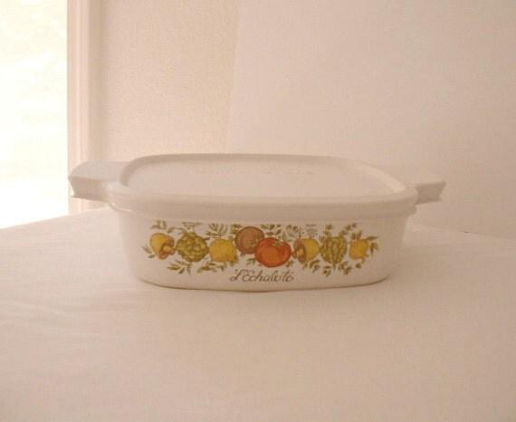 Corning Ware. Spice of Life.1970's.Casserole dish. Freezer Lid. One Quart size.Vintage.USA