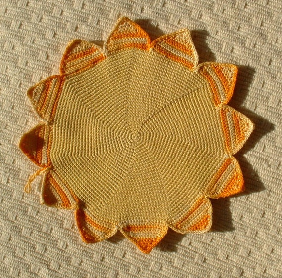 Yellow and Orange Sun sunflower Potholder,  vintage, crochet, handmade, cotton