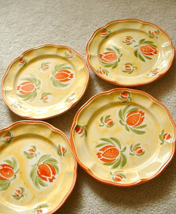 Reserved for NAN...Four Tulip Plates, Yellow Porcelain. Red and coral tulips. Made in Portugal. European. Hand Painted.