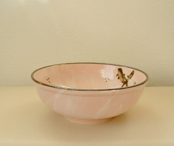 Reserved for EMIRA,1 Pink Porcelain Asian Bowl, hand painted with cherry blossoms