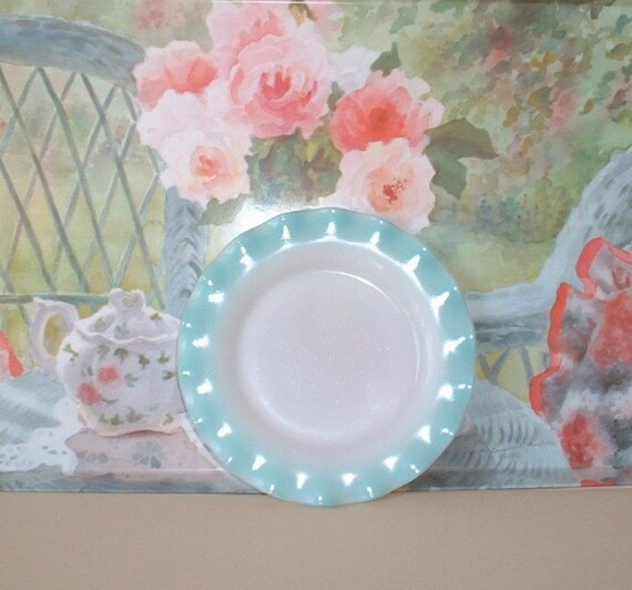 Hazel Atlas turquoise aqua blue and white Plate, 7 inches, Crinoline pattern with ruffles all around edges