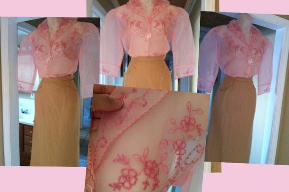SALE  for 18 SALE1940s 1950s Sheer Pink Blouse mint condition