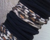 tshirt bracelets or tshirt necklace- leopard print and black