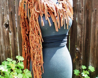 Knitted Fringed Bronze Scarf - Handmade from Bronze Mesh Fabric