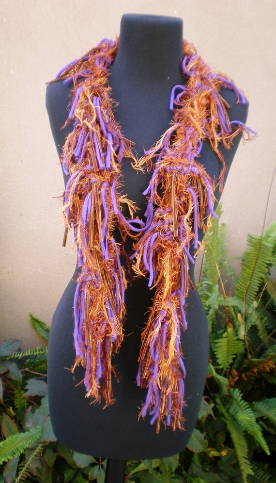 Purple and Copper Fringed Scarf