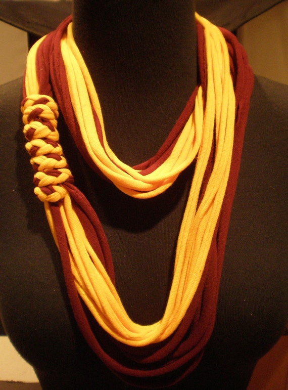 Burgundy and Gold T-Shirt Necklace Scarf plus two bracelets