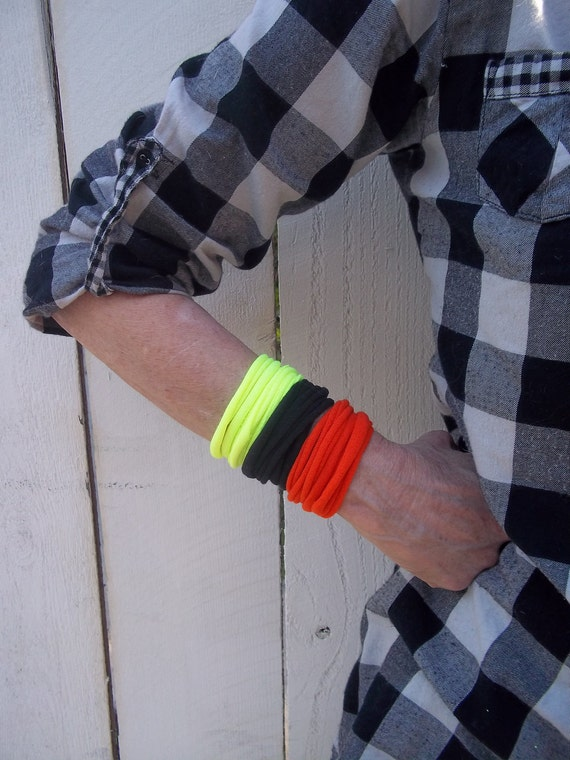 TShirt Bracelets - black,orange and neon yellow