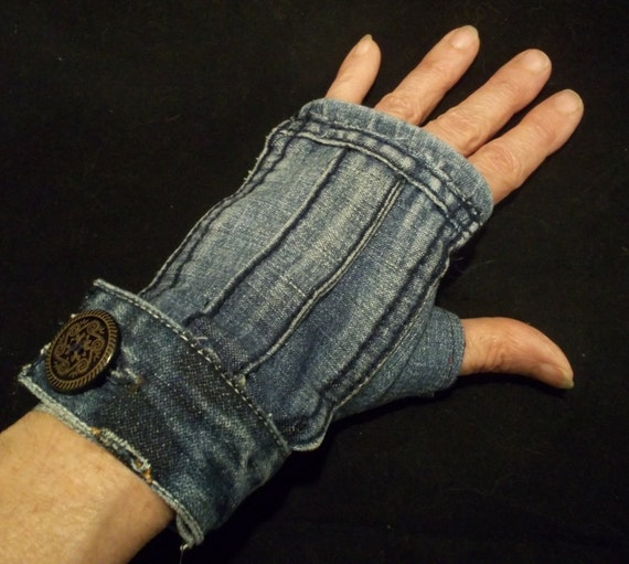 Denim Fingerless Gloves with Large Wood Buttons