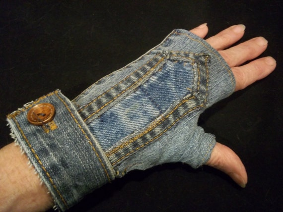 Fingerless Denim Gloves with Small Wood Buttons