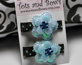 Spring Blue Floral HairClip Set by TotsandBows