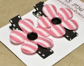 Pink and White Striped Flower Hair Clip Set by TotsandBows