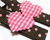 Pink Polka Dots and Hearts Hair Clip Set by TotsandBows