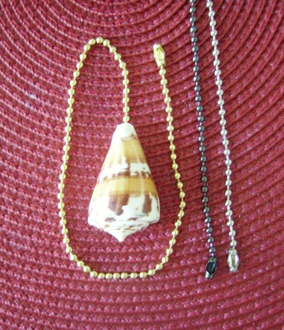 Unique Cream w/Beige Accent Cone Seashell Ceiling Fan Light Pull with a Gold, Bronze, or Silver Chain