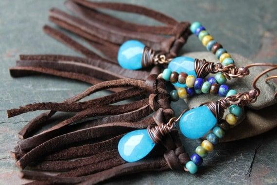 RAIN DANCE, Leather fringe earrings, picasso beads, blue jade drops, copper
