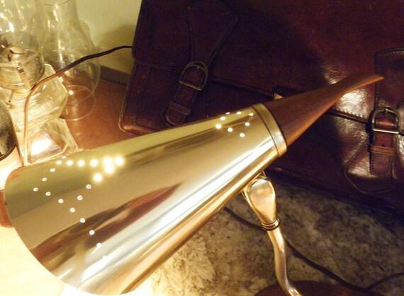 SALE 33 Percent OFF 30 Days Vintage Double Pin Hole Brass and Walnut Desk Lamp Mad Men Mid CenturyReg 299.95