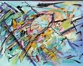 Art Sale - Now 130.00 - AFTER BURN Original Contemporary Art - 24 x 36 Painting on Canvas - Acrylic and Pen -  Abstract Expressionism