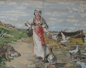 Girl with geese (needlepoint picture) gobelin