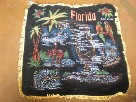 Vintage Souvenir Black Velvet Pillowcase Florida