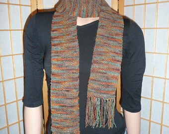 Thin Wool Scarf & Headband - Orange/brown/green