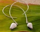Floating Teardrop Maui Handmade Shell Sterling Silver Earrings