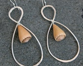 Handmade Sterling Silver Earrings adorned with Rare Orange Shell