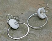 Handmade Double Hoop Puka Shell Sterling Silver Earrings