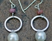 Pearl Sterling Silver Earrings with Mauve Bead