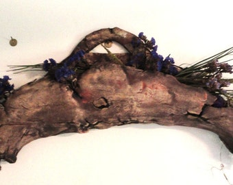 Large Rugged Ceramic Wall pocket/vase for dried flowers