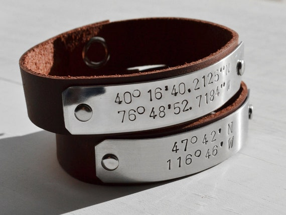Two (2) Custom Latitude and Longitude Leather Bracelets. Friendship Bracelets, Anniversary Gift, BFF, Wedding Gift
