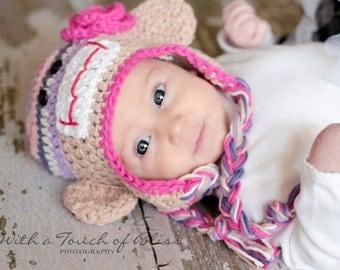 Flower Sock Monkey Hat Photography Prop Boutique