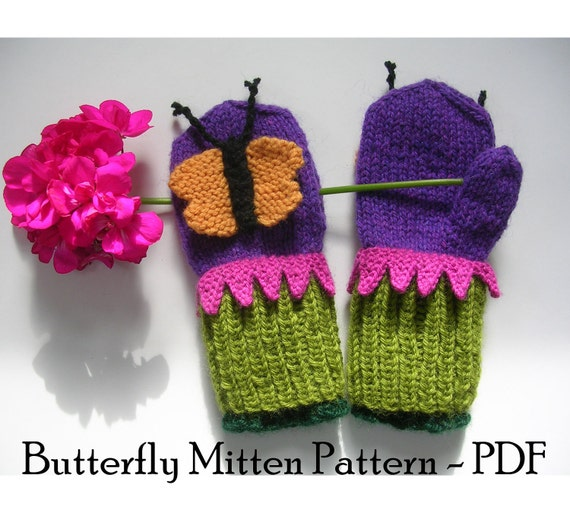 Butterfly Knitting Pattern : Butterfly Mittens Knitting Pattern with Bonus by SnowDayArtist