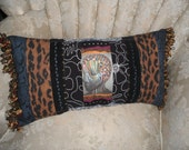 One of a kind- Ethnic Pillow- Tribal Gift Idea- Art transfer