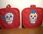 Day of Dead Potholders Set Free US shipping Kitchen Decor Skulls