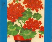 Vintage Meyercord Transfers Pot of Red Geraniums  X104-C