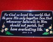 Blue Mirrored Bible Quotation-John 3:16