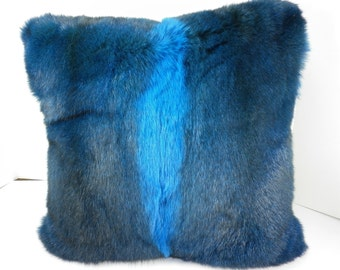 Real Genuine Dyed Blue Full Skin New Zealand Opossum fur   Pillow  new made in usa  authentic fur cushion
