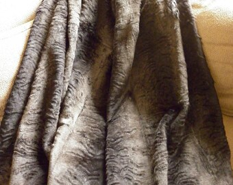 Real Laser Sheared Dyed Charcoal Brown Rabbit Fur Throw  new  made in usa  authentic