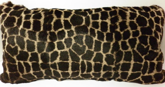 Real Rabbit Fur Sheared Pillow Dyed Giraffe Animal Print   new  made in usa genuine authentic cushion