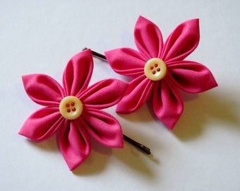 Pink Kanzashi Flower Hairpins with Yellow Buttons (Custom made)