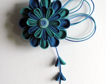Blue & Aqua Kanzashi Hair Fascinator