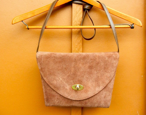 Vintage 70s Light Brown Suede Cross-Body Bag & Convertible Clutch