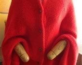 Red Knit Cape/Shawl