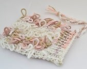 Loop Knitted Scrubbing Washcloth Mitt - Cream, Peach, and Brown
