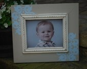 8 x 10 Oatmeal with blue Damask