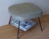 Mid Century Footstool with Magazine Rack