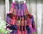 Rustic Bohemian Velvet Satin Patchwork  Skirt Gypsy Wedding Radiant Orchid