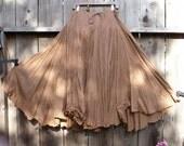 Romantic Bohemian Skirt/ Brown Cotton Maxi Gypsy Skirt/ Mori girls Woodland Earth Color/ steampunk
