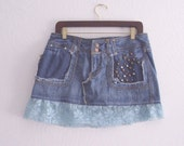 Embroidered denim skirt who never