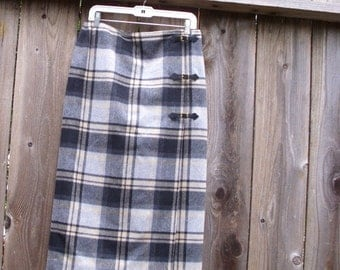 Classic Wool Grey and Black  Plaid Tartan Wrap Skirt with Belt