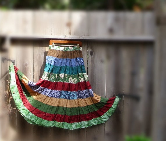Vintage Bohemian Maxi Skirt/ Gypsy Patchwork Satin Multi Color Full Skirt
